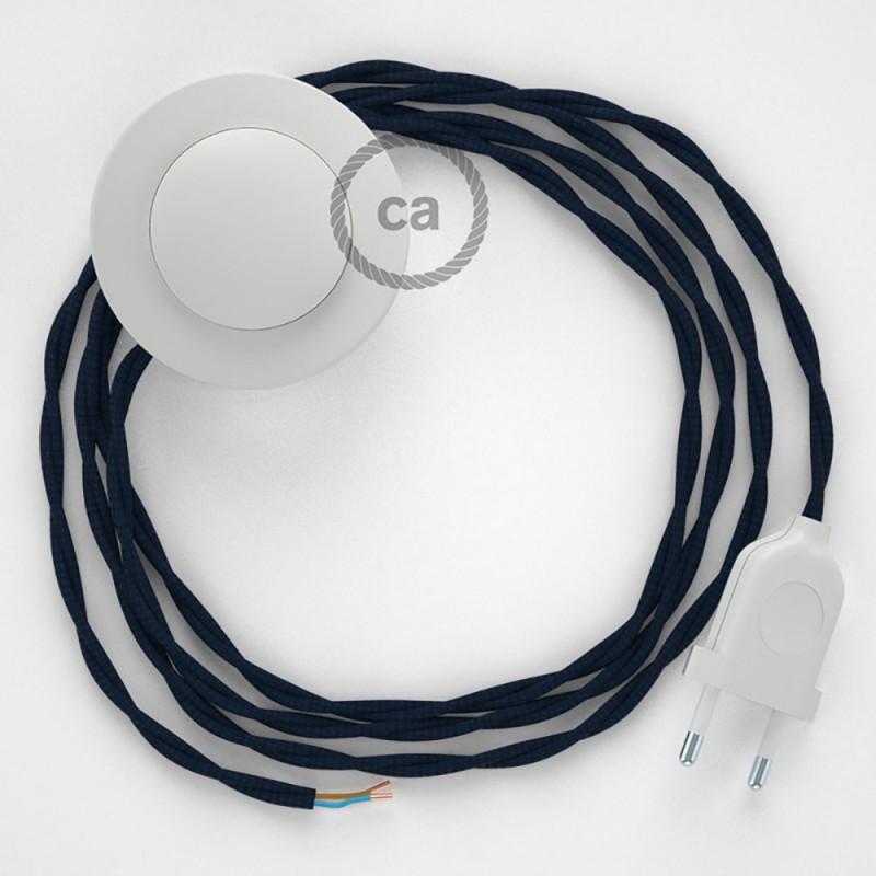 Cablaggio per piantana, cavo TM20 Effetto Seta Blu scuro 3 m. Scegli il colore dell'interruttore e della spina.