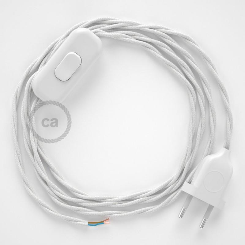 Cordon pour lampe, câble TC01 Coton Blanc 1,80 m. Choisissez la couleur de la fiche et de l'interrupteur!