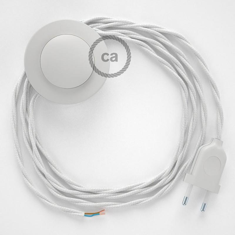 Cordon pour lampadaire, câble TC01 Coton Blanc 3 m. Choisissez la couleur de la fiche et de l'interrupteur!