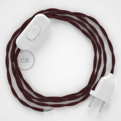 Cablaggio per lampada, cavo TM19 Effetto Seta Bordeaux 1,80 m. Scegli il colore dell'interruttore e della spina.