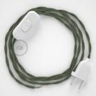 Cablaggio per lampada, cavo TC63 Cotone Verde Grigio 1,80 m. Scegli il colore dell'interruttore e della spina.