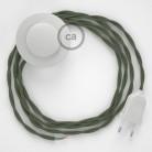 Cordon pour lampadaire, câble TC63 Coton Vert Gris 3 m. Choisissez la couleur de la fiche et de l'interrupteur!
