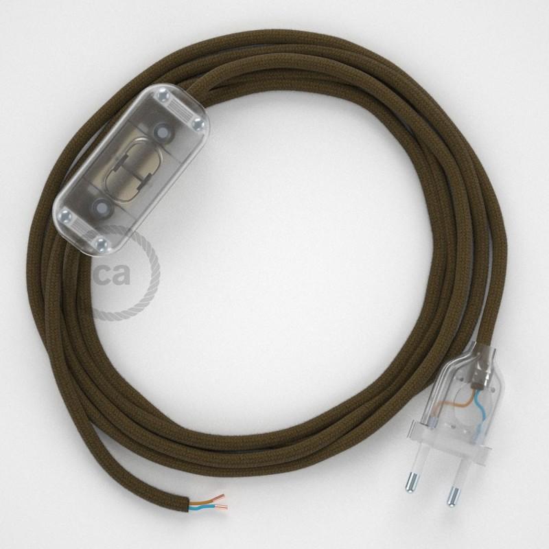Cablaggio per lampada, cavo RC13 Cotone Marrone 1,80 m. Scegli il colore dell'interruttore e della spina.