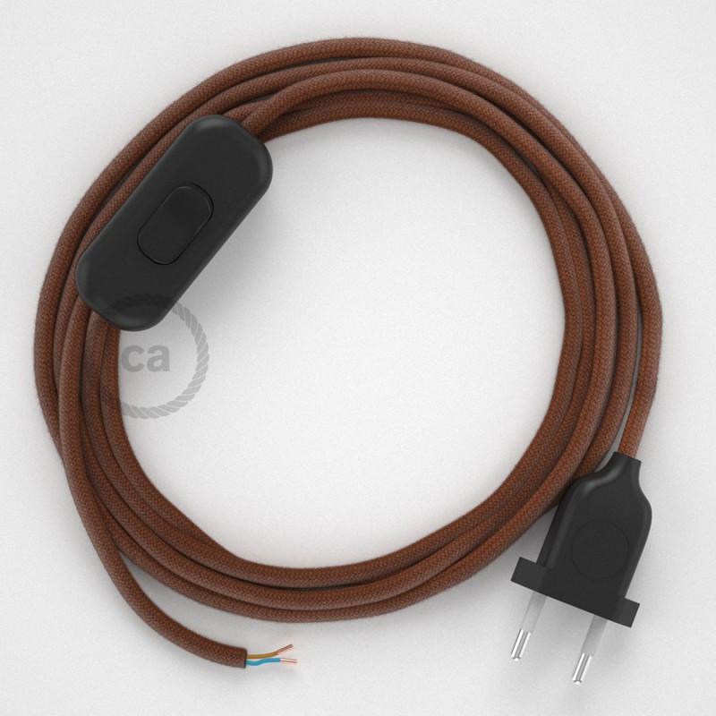 Cablaggio per lampada, cavo RC23 Cotone Daino 1,80 m. Scegli il colore dell'interruttore e della spina.