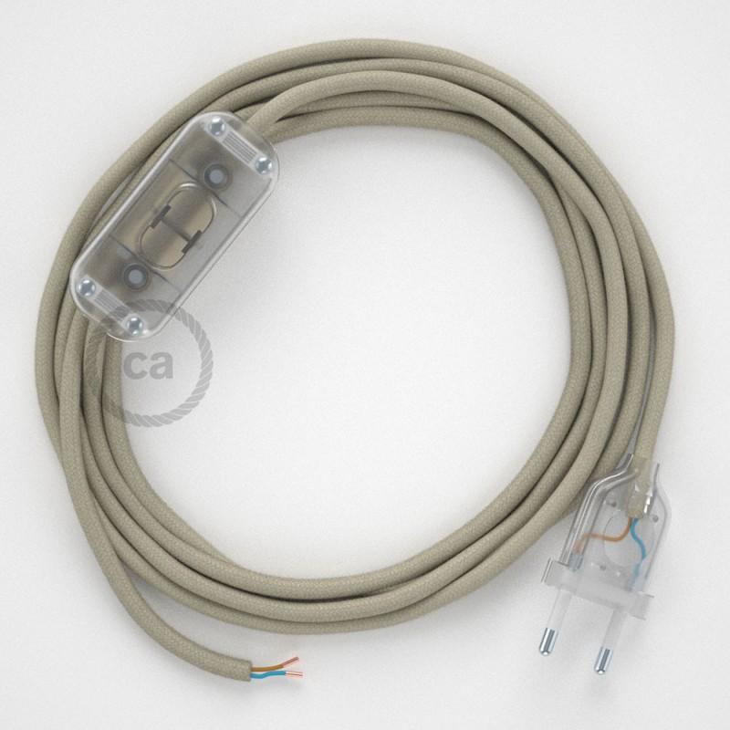 Cablaggio per lampada, cavo RC43 Cotone Tortora 1,80 m. Scegli il colore dell'interruttore e della spina.