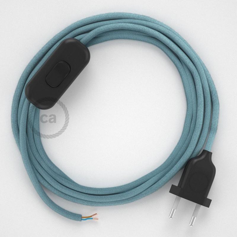 Cordon pour lampe, câble RC53 Coton Océan 1,80 m. Choisissez la couleur de la fiche et de l'interrupteur!
