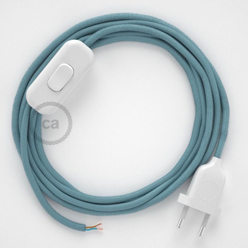 Cablaggio per lampada, cavo RC53 Cotone Oceano 1,80 m. Scegli il colore dell'interruttore e della spina.