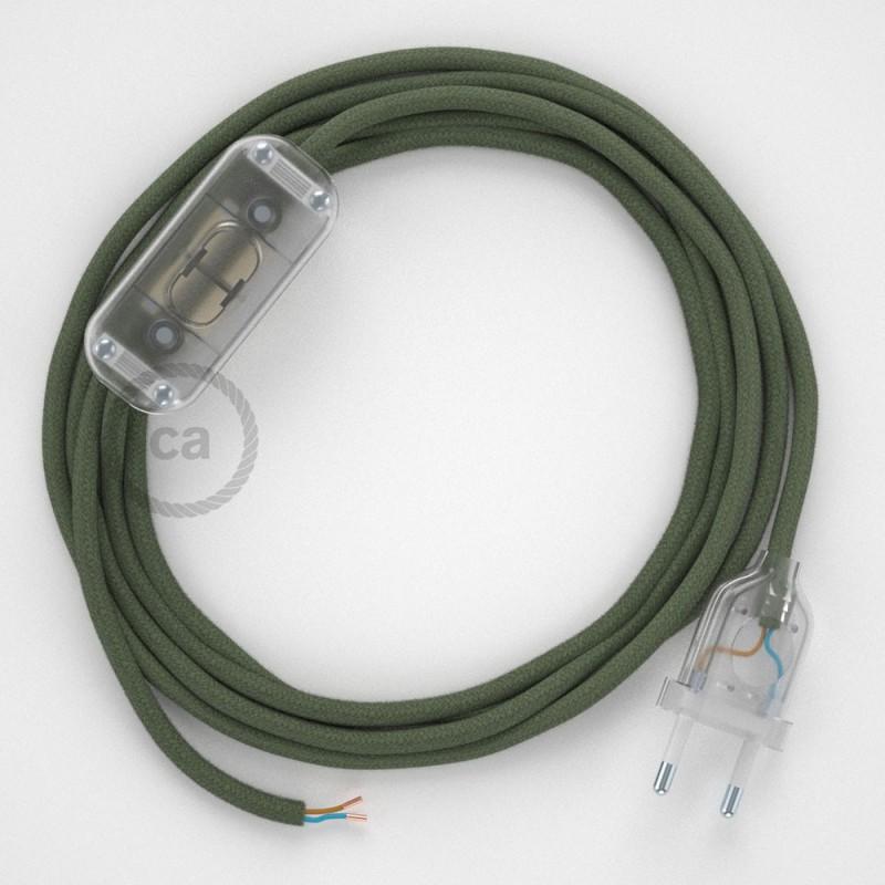 Cablaggio per lampada, cavo RC63 Cotone Verde Grigio 1,80 m. Scegli il colore dell'interruttore e della spina.