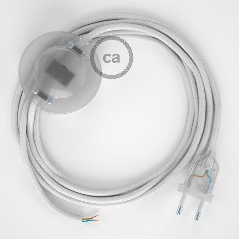 Cordon pour lampadaire, câble RC01 Coton Blanc 3 m. Choisissez la couleur de la fiche et de l'interrupteur!