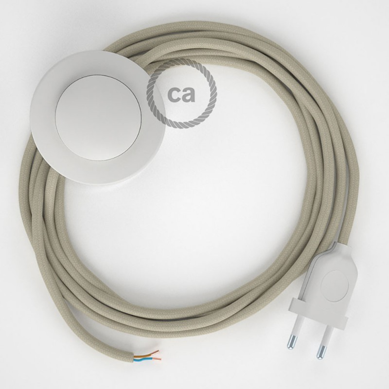 Cordon pour lampadaire, câble RC43 Coton Tourterelle 3 m. Choisissez la couleur de la fiche et de l'interrupteur!