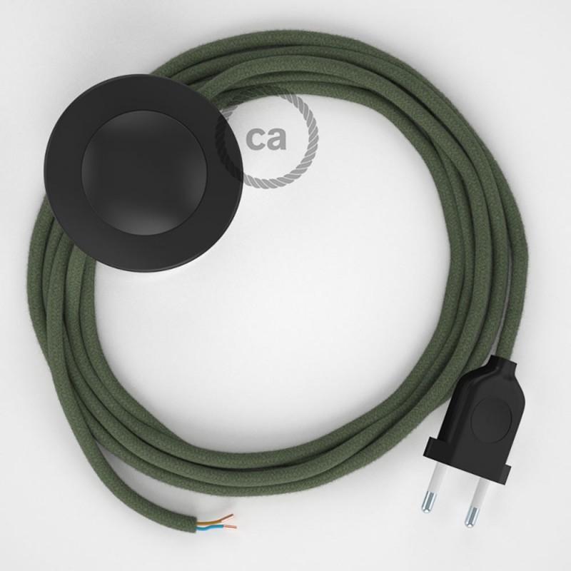 Cablaggio per piantana, cavo RC63 Cotone Verde Grigio 3 m. Scegli il colore dell'interruttore e della spina.