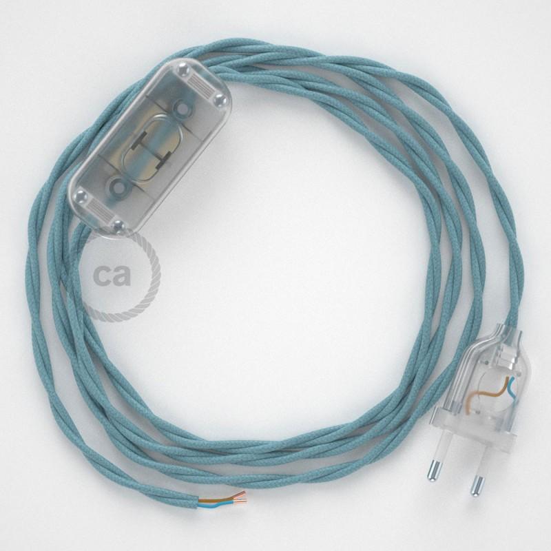 Cablaggio per lampada, cavo TC53 Cotone Oceano 1,80 m. Scegli il colore dell'interruttore e della spina.