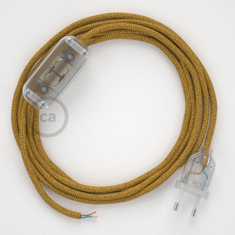 Cablaggio per lampada, cavo RL05 Effetto Seta Glitterato Oro 1,80 m. Scegli il colore dell'interruttore e della spina.