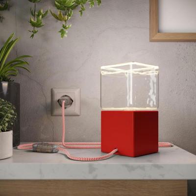 Posaluce Cubetto Couleur, lampe de table en bois peint comprenant câble textile, interrupteur et prise bipolaire