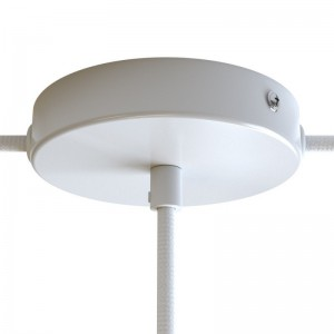 Zylindrischer Lampenbaldachin Kit aus Metall mit 1 Haupt- und 2 Seitenlöchern