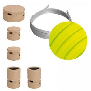 Wiggle-Kit des Filé-Systems - mit 3 m Kabel und 5 Zubehörteilen aus Holz für den Innenbereich