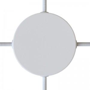 Kit rosone cilindrico in metallo a 4 fori laterali (scatola di derivazione)