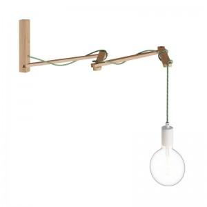 Pinocchio XL, supporto a muro regolabile in legno per lampade a parete