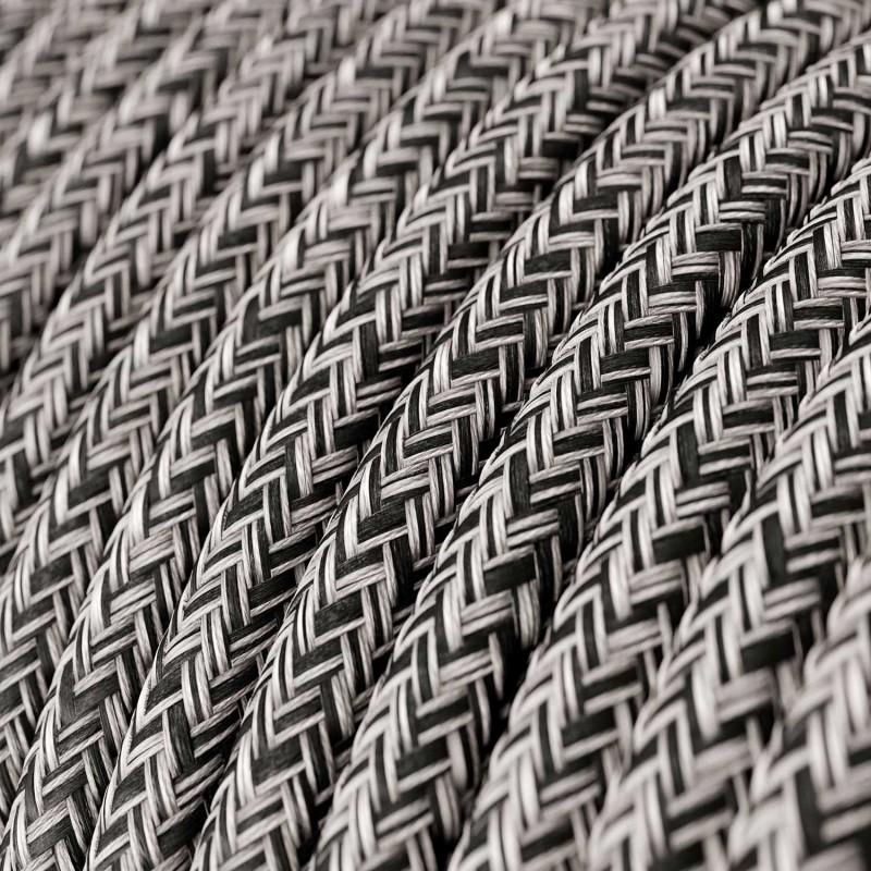 Cavo Elettrico rotondo rivestito in Cotone Onyx Tweed color Nero, Lino Naturale e Rifinitura Glitter RS81