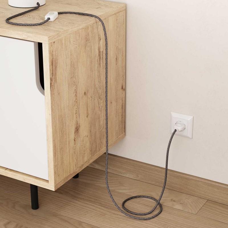 Elektrisches Kabel rund überzogen mit Baumwolle Onyx Tweed Farbe-Schwarz und Glitter-Verarbeitung RS81