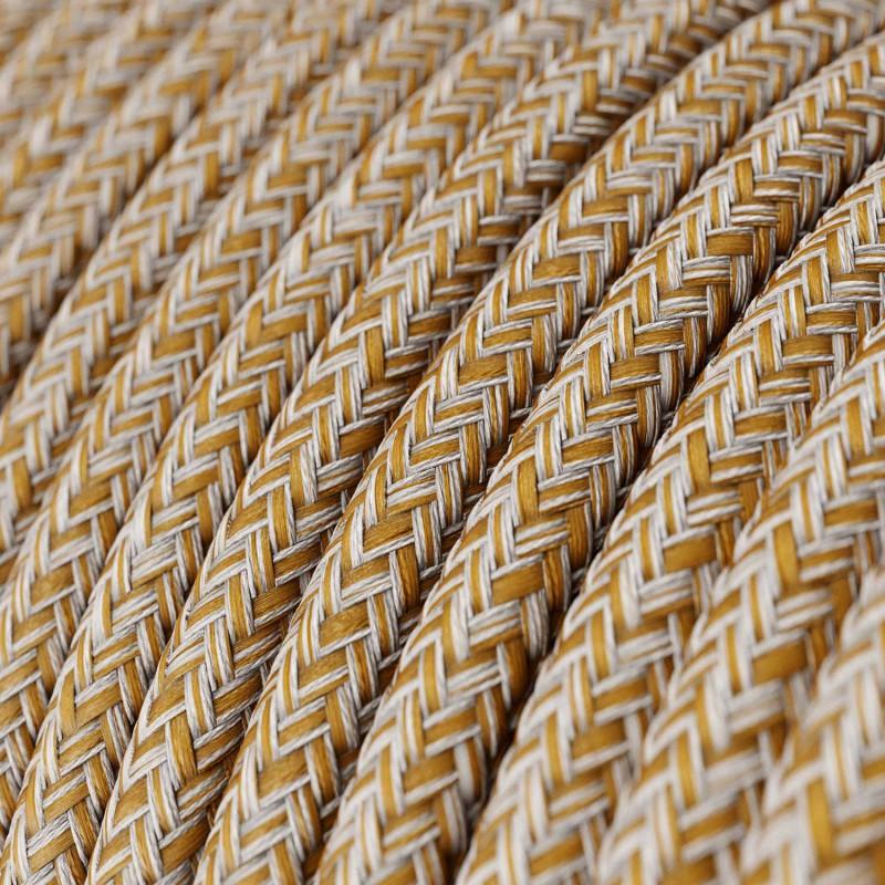Fil Électrique Rond Gaine De Coton De Couleur Tweed Rouille, Marron, Lin Naturel Et Finition Paillettes RS82