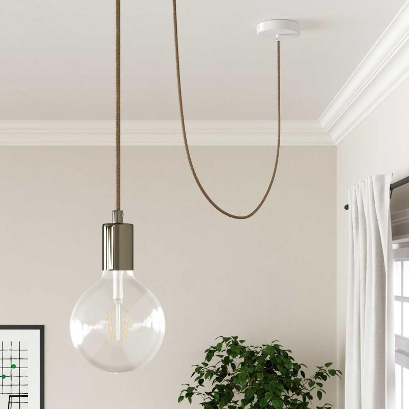 Elektrisches Kabel rund überzogen mit Baumwolle Rost Tweed Farbe-Braun, natürliches Leinen und Glitter-Verarbeitung RS82