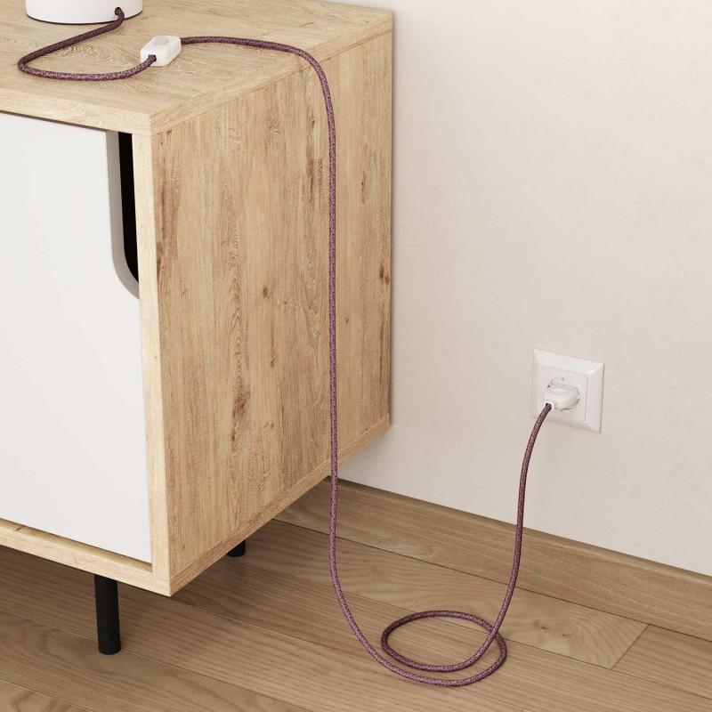 Elektrisches Kabel rund überzogen mit Baumwolle Burgundy Tweed Farbe-Rot, natürliches Leinen und Glitter-Verarbeitung RS83