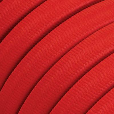 Cavo elettrico per Catenaria rivestito in tessuto Effetto Seta Rosso CM09
