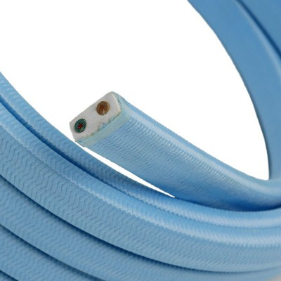Cavo elettrico per Catenaria rivestito in tessuto Effetto Seta Azzurro Baby CM17