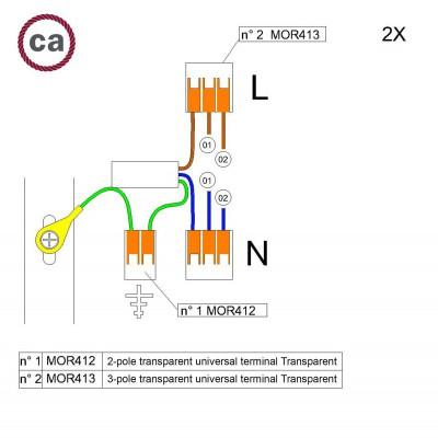 Kit di collegamento WAGO compatibile con cavo 2x per Rosone a 2 fori