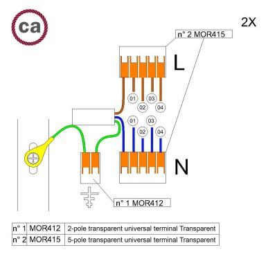 Kit di collegamento WAGO compatibile con cavo 2x per Rosone a 4 fori