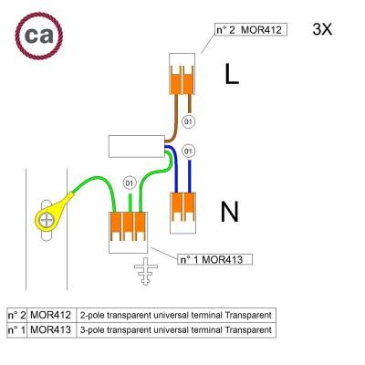 Kit di collegamento WAGO compatibile con cavo 3x per Rosone ad 1 foro