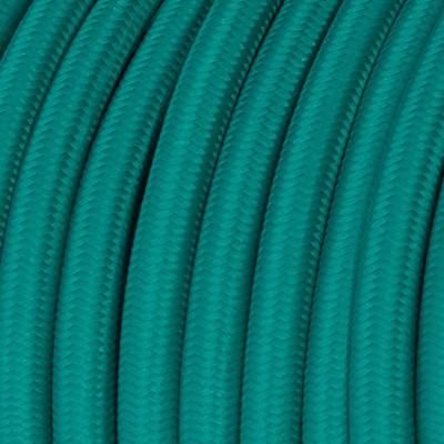 Cavo Elettrico rotondo rivestito in tessuto effetto Seta Tinta Unita Turchese RM71