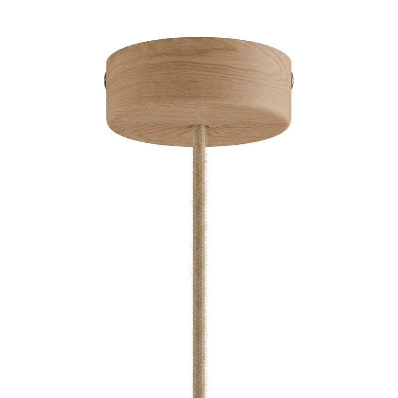 Lampe à suspension Made in Italy avec câble textile et abat-jour Tub-E14 en bois