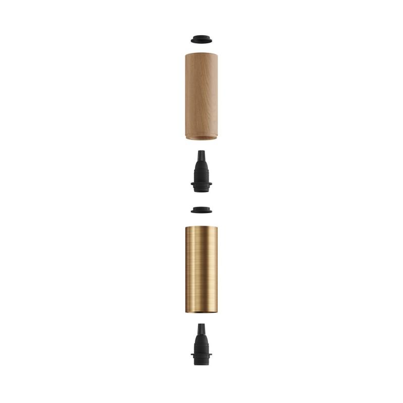 Tub-E14, tube en bois et métal pour spots avec douille double anneau E14