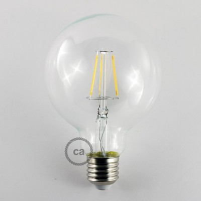 Lampadina Trasparente LED Globo G95 Filamento Corto 4W E27 Decorativa Vintage 2700K