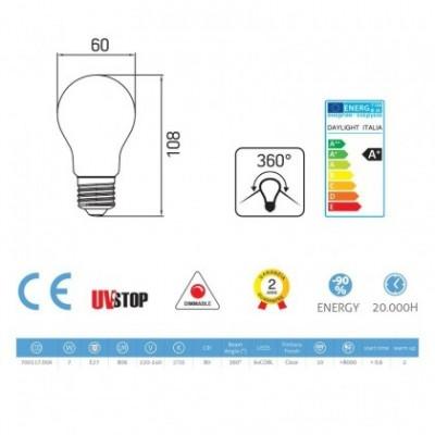 Ampoule Filament LED Goutte 7W E27 Claire Dimmable