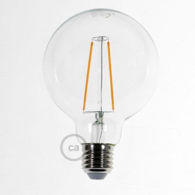 Lampadina led Globo G95 Vintage filamento lungo luce calda 2200K