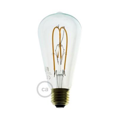 Ampoule Transparente LED - Edison ST64 Filament courbe avec Double Boucle 5W E27 Dimmable 2200K