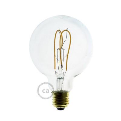 Lampadina Trasparente LED Globo G95 Filamento Curvo a Doppio Loop 5W E27 Dimmerabile 2200K