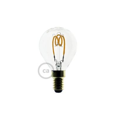 Lampadina Trasparente LED Sfera G45 Filamento Curvo a Spirale 3W E14 Dimmerabile 2200K