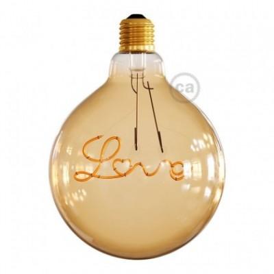 """Lampadina per sospensione Dorata LED Globo G125 Filamento Singolo """"Love"""" 5W E27 Decorativa Vintage 2000K"""