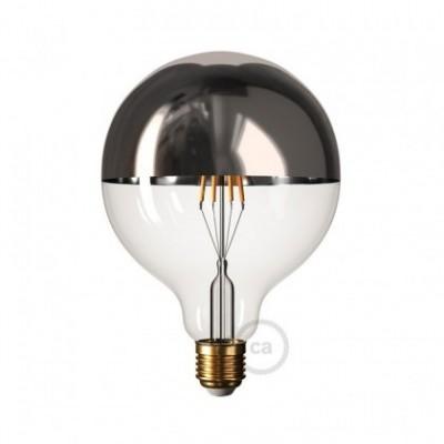Ampoule LED Globe G125 Demi Sphère Argentée 7W E27 Dimmable 2700K