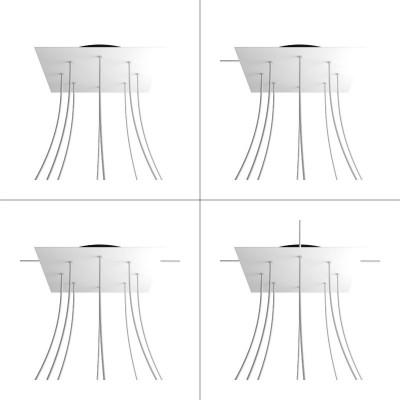 Quadratisches XXL 8-Loch und 4 Seitenlöchern Lampenbaldachin, Rose-One-Abdeckung, 400 mm