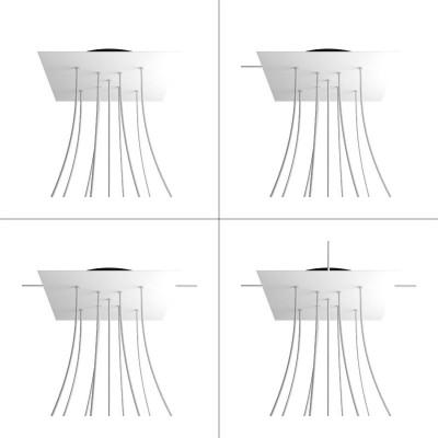 Quadratisches XXL 9 X-geformten Löchern und 4 Seitenlöchern Lampenbaldachin, Rose-One-Abdeckung, 400 mm
